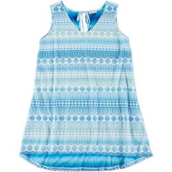 Pacific Beach Plus Crochet Look Keyhole Back Swim Cover-Up