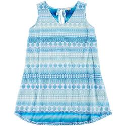 Plus Crochet Look Keyhole Back Swim Cover-Up