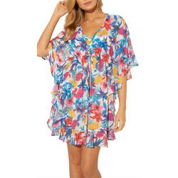 Bleu Rod Beattie Womens Floral Tie Swim Cover-Up
