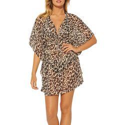 Womens Cheetah Caftan Swim Cover-Up