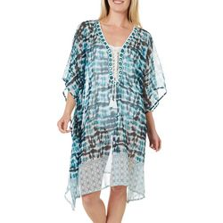 Tie Dye Print Embellished Kimono Cover-Up