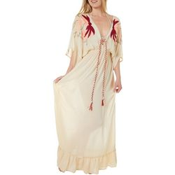 Quetico Womens Boho Embroidery Maxi Dress Swim Cover-Up