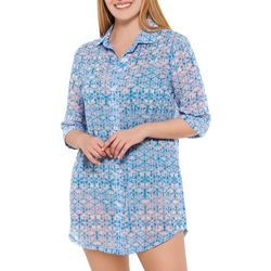 Wearabouts Womens Kaleidoscope  Solid Button Down Cover-Up