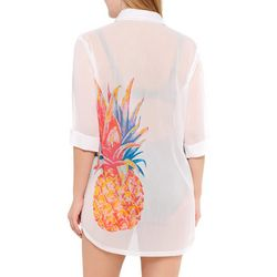 Wearabouts Womens Pineapple Graphic Button Down Cover-Up