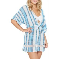 Wearabouts Womens Crochet Accent Striped Tunic Swim Cover-Up