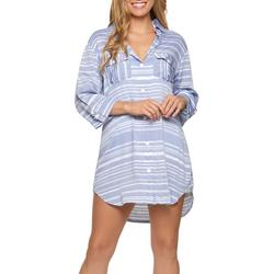 Wearabouts Womens Striped Button Down Shirt Cover-Up