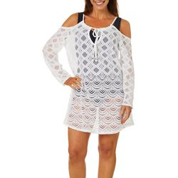Wearabouts Womens Scalloped Lace Cold Shoulder Cover-Up