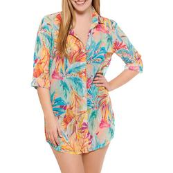 Wearabouts Womens Tropical Button Down Cover-Up