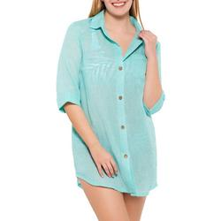 Wearabouts Womens Solid Seafoam Button Down Cover-Up