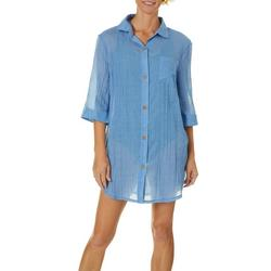 Wearabouts Womens New Port Solid Button Down Cover-Up