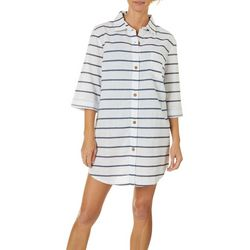 Wearabouts Womens Nautical Striped Button Down Cover-Up