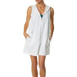 Wearabouts Womens Embossed Flamingo Hooded Swim Cover-Up