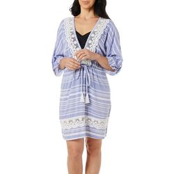 Wearabouts Womens Tassel Talk Striped Tunic Swim Cover-Up