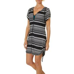 Wearabouts Womens Ibiza Stripe Tunic Hooded Swim Cover-Up