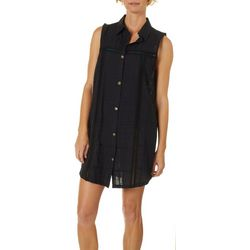 Wearabouts Womens Sleeveless Solid Button Down Cover-Up