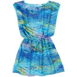 Graphic Wave Tie-front Cover Up