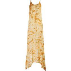 Raviya Womens Yellow Tie-Dye Sleeveless Maxi Beach Dress
