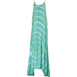 Raviya Womens Teal Tie-Dye Sleeveless Maxi Beach Dress