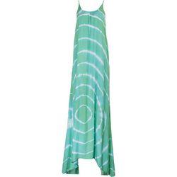 Raviya Womens Teal Tie-Dye Sleeveless Maxi Beach Dress
