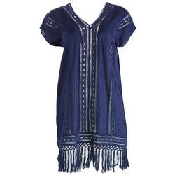 Womens Fringe Hem  Embroidered Beach Dress