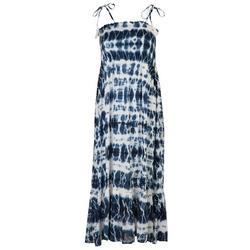 Womens Tie Dye Smocked Maxi Beach Dress
