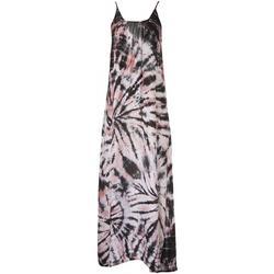 Womens Scoop Back Tie-Dye Sleeveless Maxi Beach Dress
