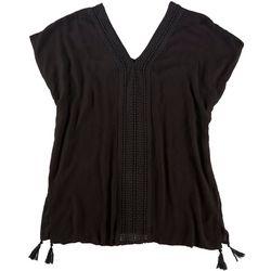 Raviya Womens Crochet Accent Tunic Cover Up
