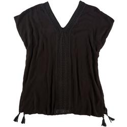 Womens Crochet Accent Tunic Cover Up