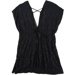 Womens Metallic Pinstripe Plunge Cover Up