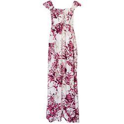 Raviya Womens Palm Print Cap Sleeve Maxi Dress