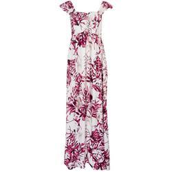 Womens Palm Print Cap Sleeve Maxi Dress