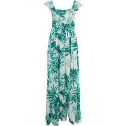 Womens Palm Print Cap Sleeve Maxi Beach Dress