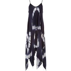 Womens Two-Tone Tie-Dye Sleeveless Maxi Beach Dress