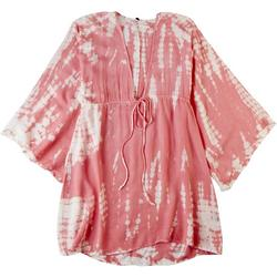 Womens Coral Pink Tie Dye Plunge Cover Up