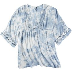 Raviya Womens Tie Dye Crochet Accent Plunge Cover Up