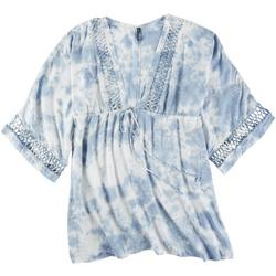 Womens Tie Dye Crochet Accent Plunge Cover Up
