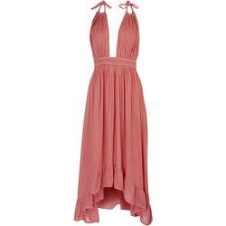 Raviya Womens Solid Halter Plunge Maxi Beach Dress