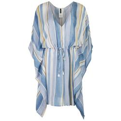 Womens Striped 3/4 Sleeve Swim Cover-Up