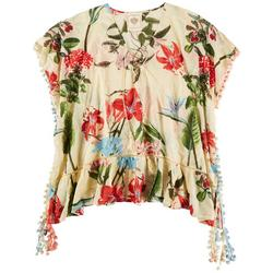 Womens Large Tropical Floral Pullover Cover-Up