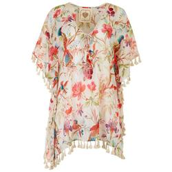 Womens Floral & Bird Tassel Trim Pullover Cover-Up