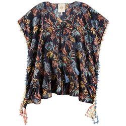 Z & L Women  Tropical Floral Pom-Pom Trim Pullover Cover-Up