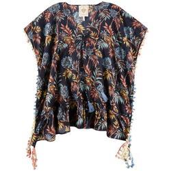 Women  Tropical Floral Pom-Pom Trim Pullover Cover-Up