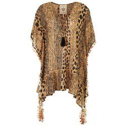 Z & L Womens Animal Tassel Trim Pullover Cover-Up