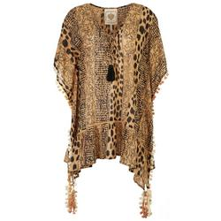 Womens Animal Tassel Trim Pullover Cover-Up