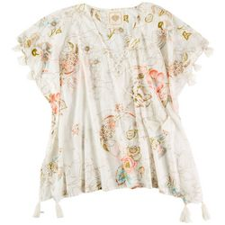 Z & L Womens Floral Tassel Trim Pullover Cover-Up