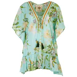 Womens Floral Ruffle Laced Neck Pullover Cover-Up