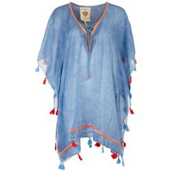 Womens Chambray Tassel Trim Pullover Cover-Up