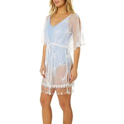 Womens Crochet Palms Fringe Trim Kimono Swim Cover Up