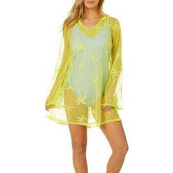 Miken Womens Crochet Palms Hooded Long Sleeve Swim Cover Up