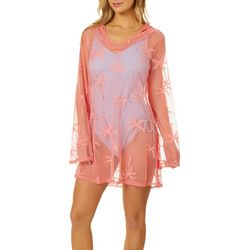 Miken Womens Crochet Palms Hooded Long Sleeve Swim Cover Up